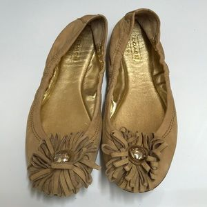 Coach tan suede leather ballet shoes flats